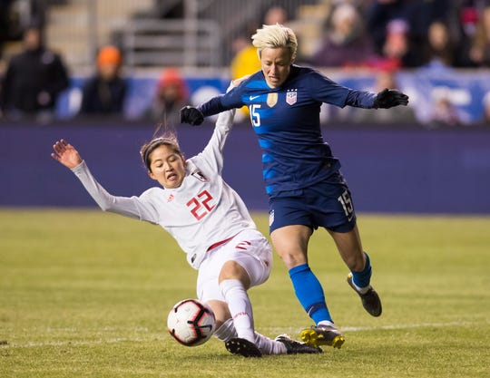 Palo Cedro native Megan Rapinoe, right, tries to get around Japan's Risa Shimizu with the ball during the first half of the SheBelieves Cup soccer match on Wednesday, Feb. 27, 2019, in Chester, Pa.