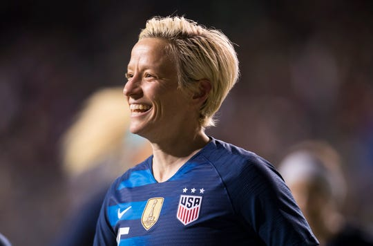 The United States' Megan Rapinoe reacts to scoring a goal during the first half of the SheBelieves Cup soccer match against Japan on Wednesday, Feb. 27, 2019, in Chester, Pa.