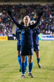 Palo Cedro native Megan Rapinoe reacts to the crowd after scoring a goal during the first half of the SheBelieves Cup soccer match against Japan on Wednesday, Feb. 27, 2019, in Chester, Pa.