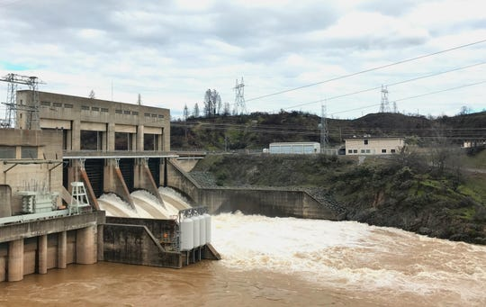 More water is being released from Lake Shasta into the Sacramento River to make room for storm runoff. Here the higher releases are shown coming through Keswick Dam on Thursday afternoon.