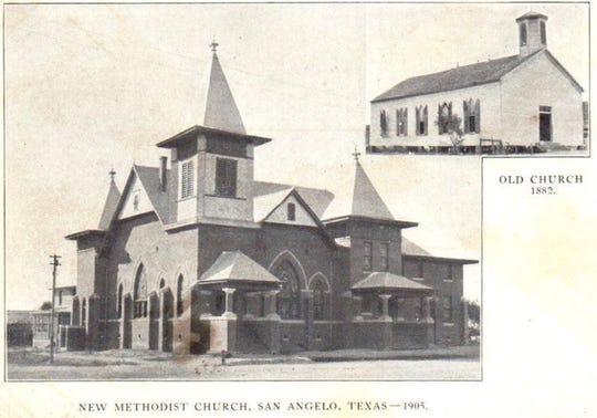 The original First Methodist Church of San Angelo, upper right, was built in 1883, and retired when the new Akron-plan church was built in 1905. That building burned to the ground on Jan. 19, 1945. The congregation held services in the City Auditorium while they built a new church.