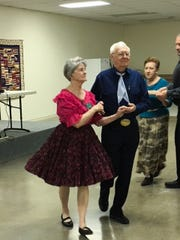 John Geen and Dixie Porter of San Angelo dance in the recreation center of the Riverside RV Park in Bandera, Texas. This was the initial Southwest Texas Camping Squares circuit dance of 2019.