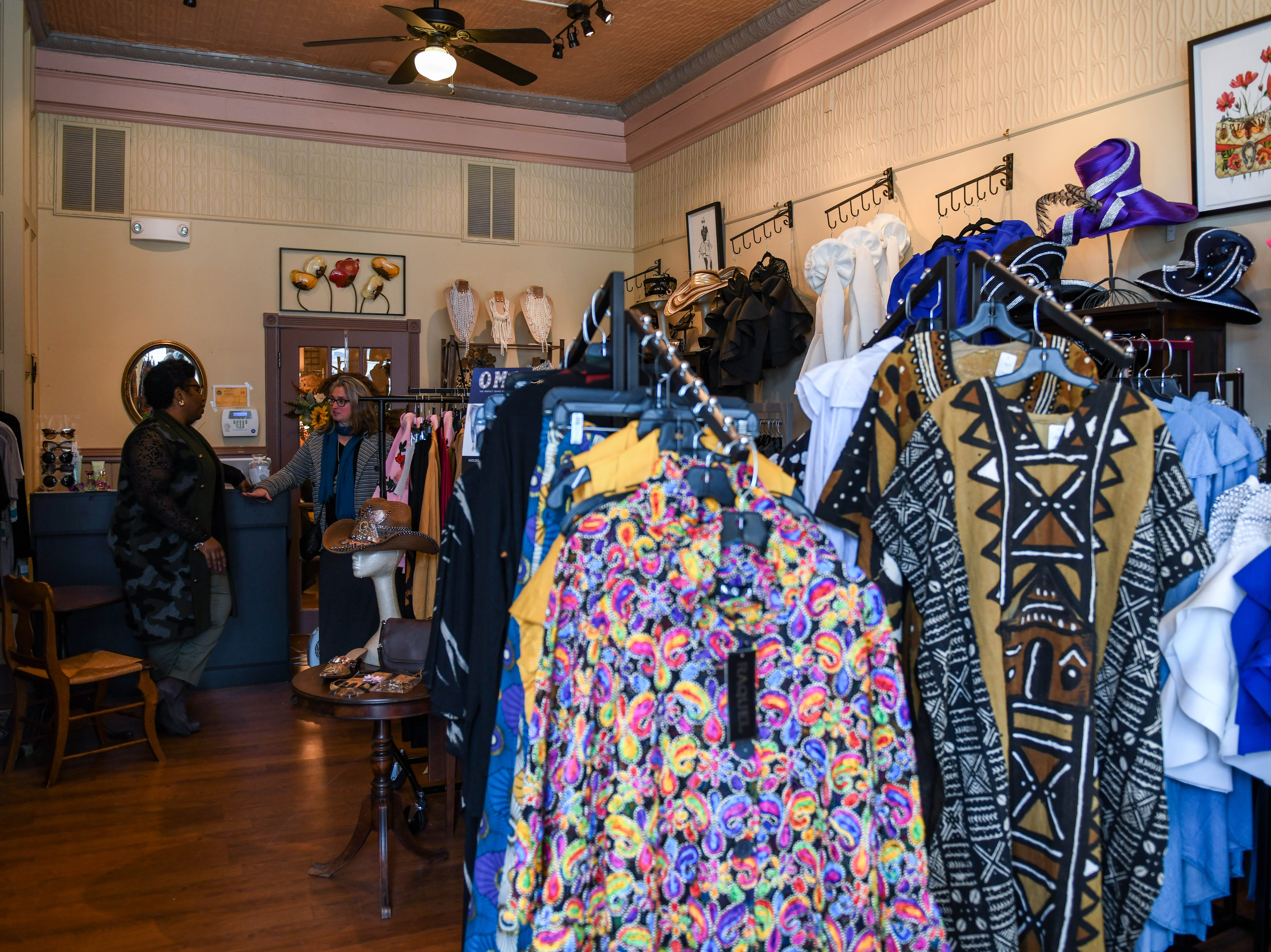 Clothes hang in the new O Grace & Glory boutique in downtown Princess Anne on Tuesday, Feb. 26, 2019.