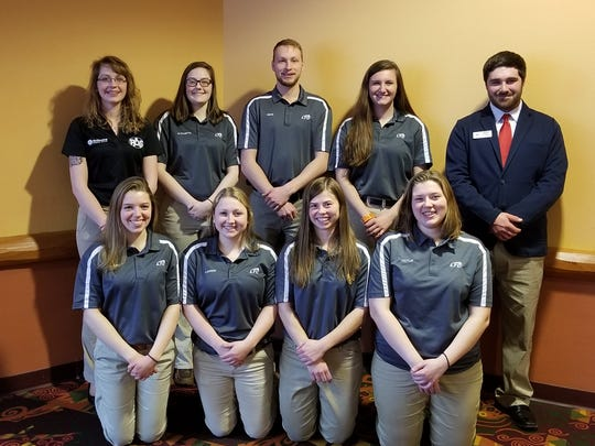 Students competing at the state Professional Agricultural Student competition included, front row: Heather Griesmer, Lauren Skinkis, Alyssa Johanek, Caitlin Berge. Back row: Kailey Schug, Elizabeth Benicke, David Verhoef, Molly Henschel, Alex Fenrick. Fenrick is also a state PAS vice president.