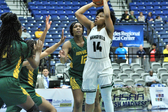 Mansfield's Sha'Kahia Warmsley puts up a shot against Rayville Thursday evening in the LHSAA Class 2A semifinal in Alexandria's Rapides Coliseum.