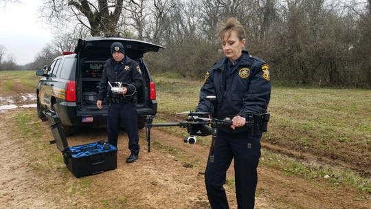 Drone operators Deputy Ryan Buttenob and Deputy Kelly Downey with the Bossier Parish Sheriff's Office initiate a search Thursday, as agencies look for an aircraft that lost contact after departing the Downtown Shreveport Airport.