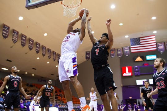 Northwestern State's Ishmael Lane (20) on Wednesday.