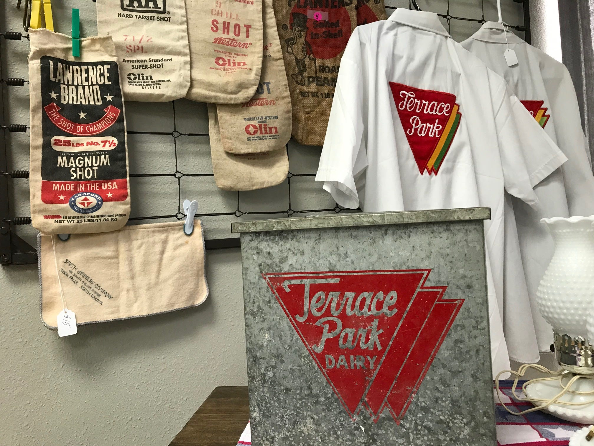 A selection of Sioux Falls related goods, including items from Terrace Park Dairy, inside the new Repurpose Project Center in Sioux Falls.