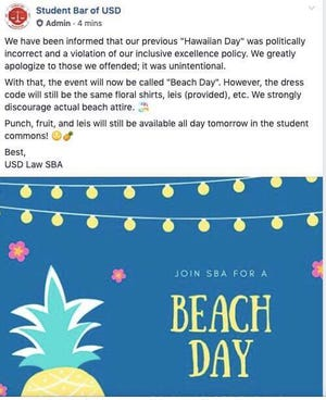 USD's Student Bar Association notified its members that it would need to change the name of a social event from Hawaiian Day to Beach Day.