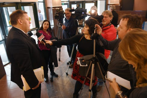Minnehaha County States Attorney Aaron McGowan addresses the media Thursday, Feb. 28, at the Minnehaha County Clerk-Courts in Sioux Falls. Former fire chief Jim Sideras was given a suspended six year sentence and six years probation. He was also given a sentence of 180 days in with 80 days suspended.