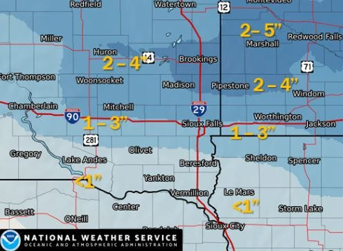 Snowfall in inches expected by Friday, March 1, 2019.
