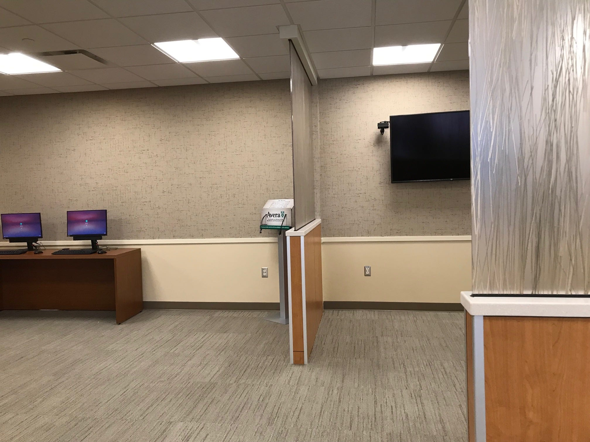 The waiting room in the new Intensive Care Unit at Avera McKennan Hospital & University Health Center will include seating, vending, computers and cellphone charging ports and plugins.