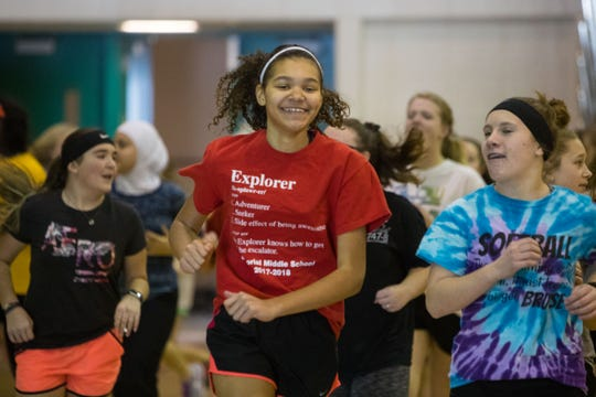 Jaidyn Dunn participates in PE class at Memorial Middle School,Thursday, Feb. 28, 2019 in Sioux Falls, S.D.