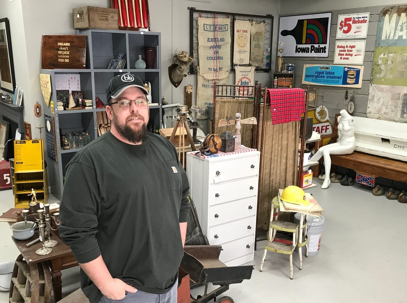 Shane Sutherland, owner of Hillbilly Paintworks Reclaim & Design and Repurpose Project Center in Sioux Falls, inside his store on South Cliff Avenue.
