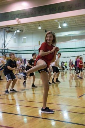 Hannah Zeman participates in PE class at Memorial Middle School,Thursday, Feb. 28, 2019 in Sioux Falls, S.D.
