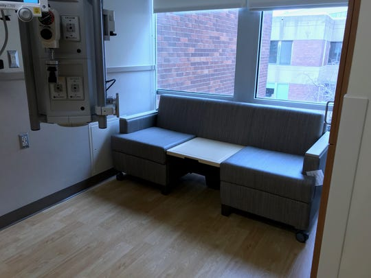 The rooms in the new Intensive Care Unit at Avera McKennan Hospital & University Health Center are about double in size of the former ICU space and include seating for family that converts into a bed.