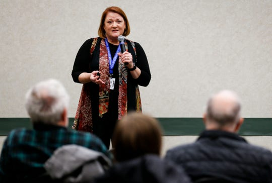Deputy Superintendent Carol Embree spoke Feb. 27 at a town hall meeting for the $168 million school bond issue, which was approved by voters April 2.