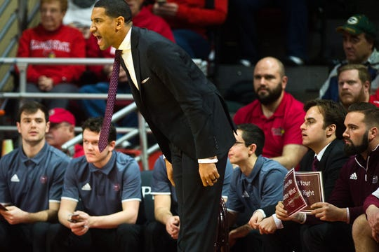 Missouri State head coach Dana Ford directs his team during first half action of the Bears' Missouri Valley Conference game against Illinois State, Ford's alma mater, Wednesday, Feb. 27, 2019, at Redbird Arena in Normal, Ill.