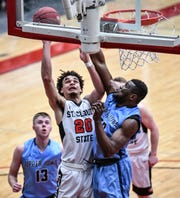 St. Cloud State's Gage Davis puts up a shot Wednesday, Feb. 27, at Halenbeck Hall in St. Cloud.