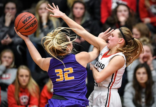 St. Cloud State's Madelin Dammann tries to block a shot in the second half Wednesday, Feb. 27, at Halenbeck Hall in St. Cloud.