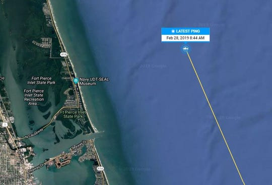 White shark Miss May has been keeping OCEARCH on its toes. She's pinged more than a dozen times since she was tagged Feb. 15 near Mayport, Florida. She last surfaced at 8:44 a.m. Thursday off of Fort Pierce, directly east of the National Navy UDT-SEAL Museum.