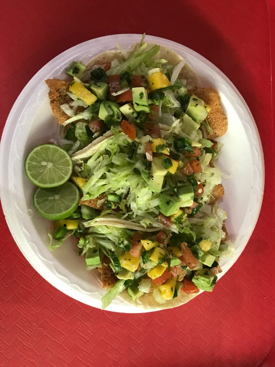 Breaded fish tacos with a mango pice de gallo are one of the items available at La Tilma at Sacred Heart Catholic Church during Lent. The season begins on Ash Wednesday.