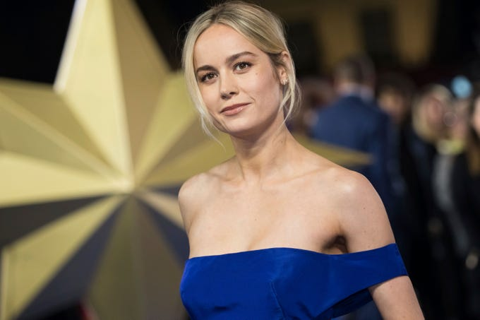 Actress Brie Larson poses for photographers upon arrival at the premiere of the film 'Captain Marvel', in London, Wednesday, Feb. 27, 2019.