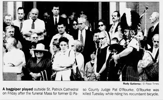 07/07/2001 A bagpiper played outside St. Patrick Cathedral after the funeral Mass for former El Paso County Judge Pat O'Rourke. O'Rourke was killed while riding his recumbent bicycle.