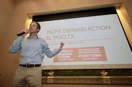 Beto O'Rourke speaks Feb. 27 at a meeting of the El Paso chapter of Moms Demand Action, a national gun control group.