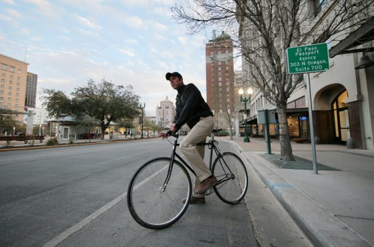 Beto O'Rourke arrived on his bicycle  before speaking at a Feb. 27  meeting of the El Paso, Texas, chapter of Moms Demand Action, a gun control group.
