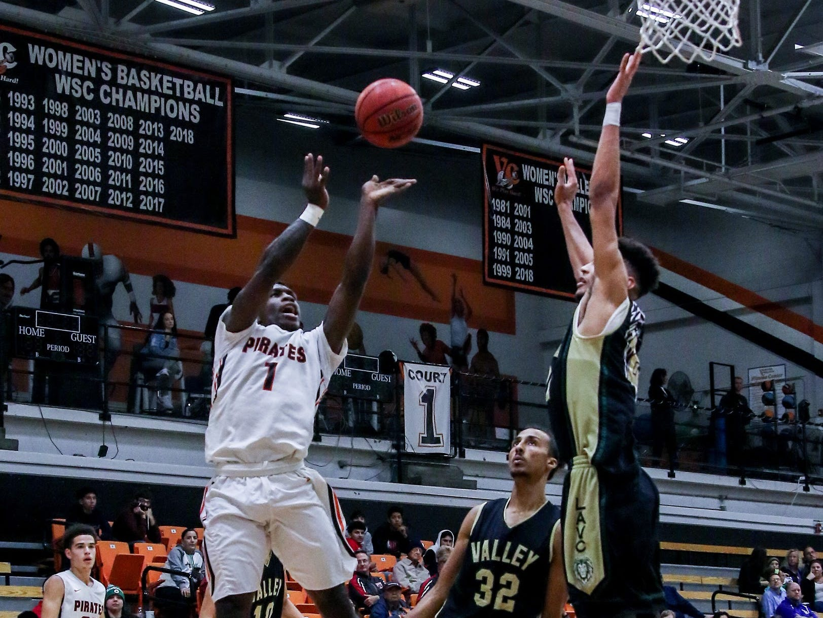 Ventura College's Tim Turner releases a jump shot against Los Angeles Valley on Wednesday night in the CCCAA Southern California regional quarterfinals at the VC Athletic Event Center. L.A. Valley won, 78-74.