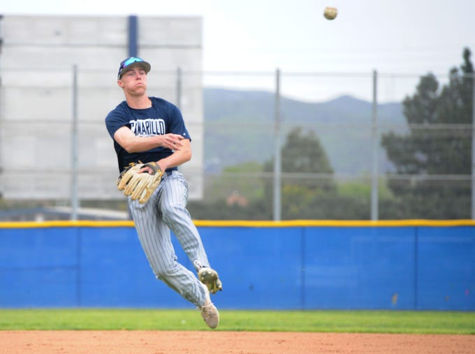 Taylor Tractenberg fires to first base during a Camarillo High practice on Wednesday. The reloaded Scorpions will look to defend its title in a deep Coastal Canyon League.
