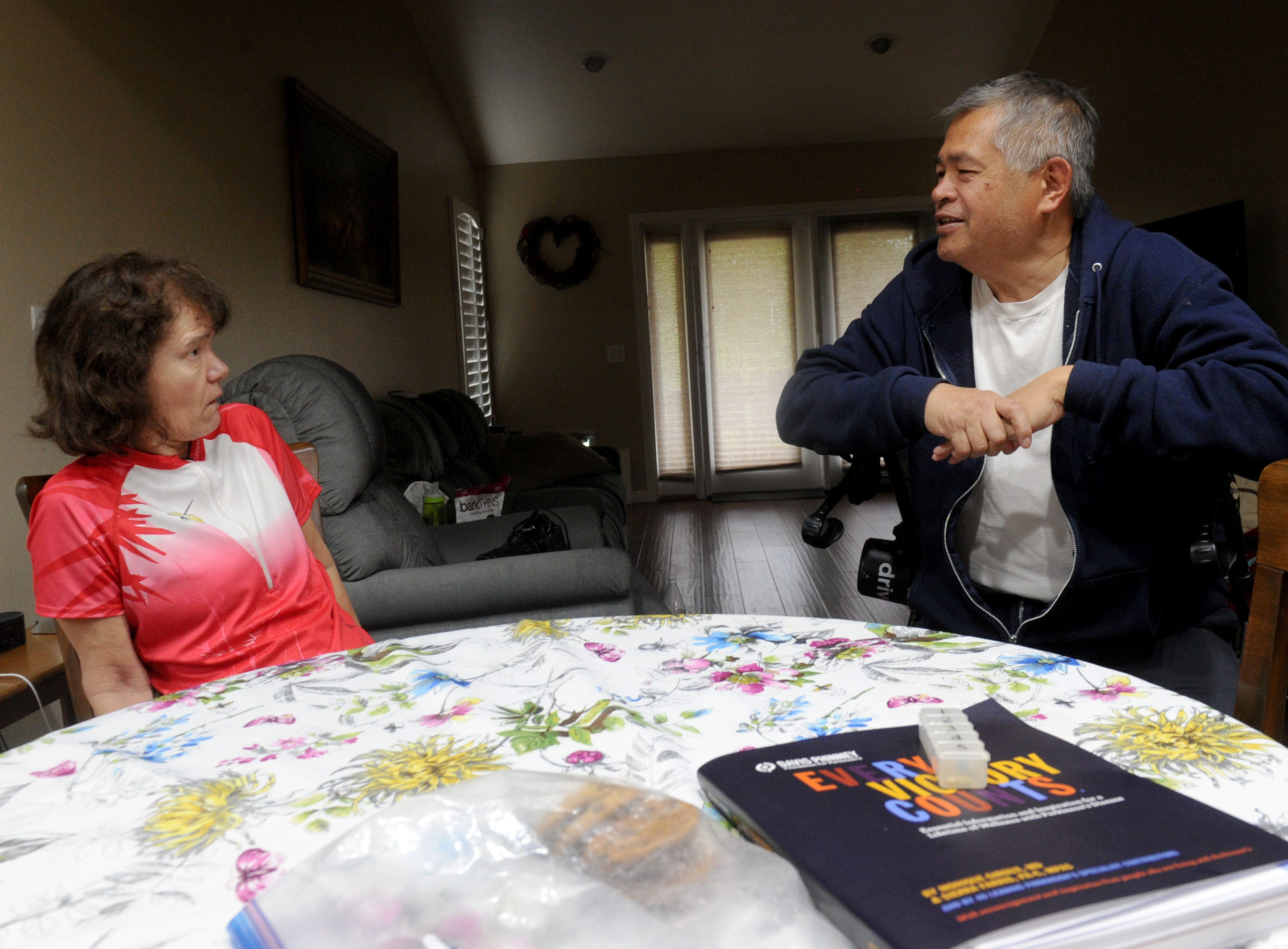 Debbie and Frank Jew talk about their day. Debbie Jew was diagnosed 13 years ago with Parkinson's disease. Frank is her caregiver.