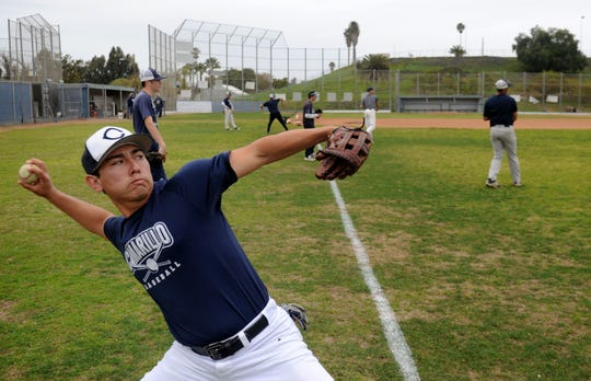 Nick Schnopp, one of Camarillo High's top players, gets ready to fire a throw in the outfield during Wednesday's practice.