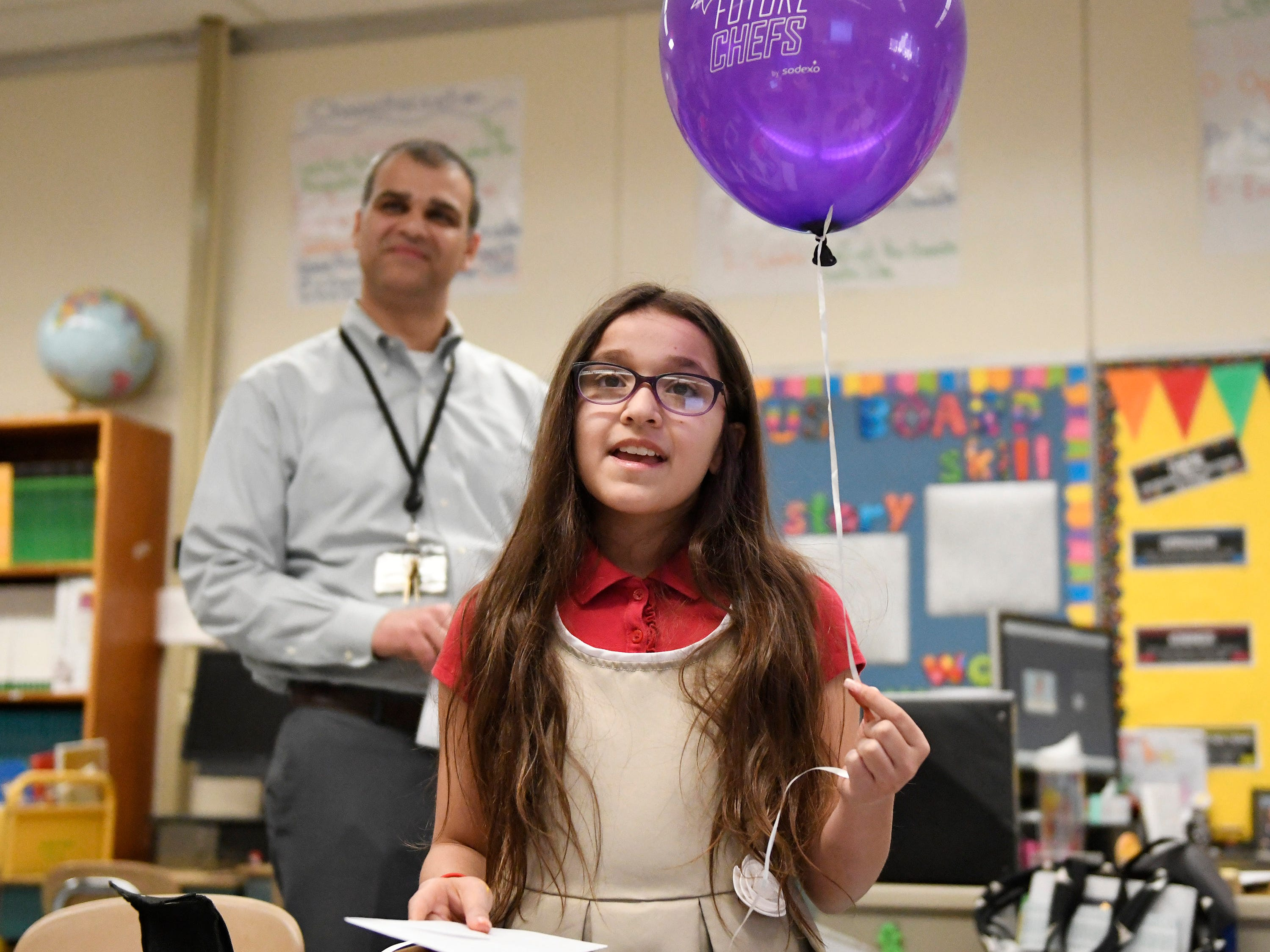 Purvesh Patel, the school district's director of food service, announced McKenzie Broyles, a fifth-grader at Durand Elementary School, as a finalist for the upcoming Future Chef competition sponsored by Sodexo.