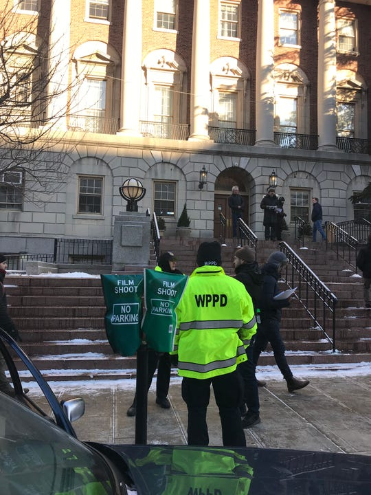 """City on a Hill"" films in front of City Hall in White Plains on Feb. 28, 2019."