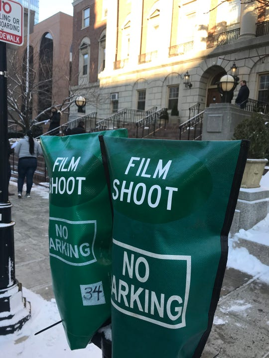 No parking signs along Main Street in White Plains for the film shoot of City on the Hill starring Kevin Bacon.