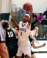 Mount Pleasant's Zaria Newson (2) was named to the All-Blue Hen Conference Flight B first team in girls basketball.