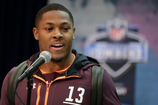 Alabama running back Josh Jacobs speaks during a press conference at the NFL football scouting combine in Indianapolis, Thursday, Feb. 28, 2019. (AP Photo/Michael Conroy)