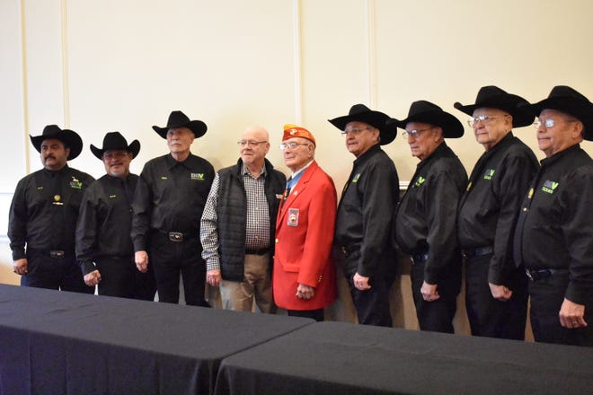 In this file photo from two years ago, National Commander Dennis Nixon installs officers of DAV CH 41 Wichita Falls for incoming year 2019-20. Witnessing is Medal Of Honor recipient of Iwo Jima, Hershel (Woody) Williams, at the 28th annual SW Iwo Jima Convention in Wichita Falls. The DAV Chapter 41 will have a meeting at 10 a.m. Jan. 9.