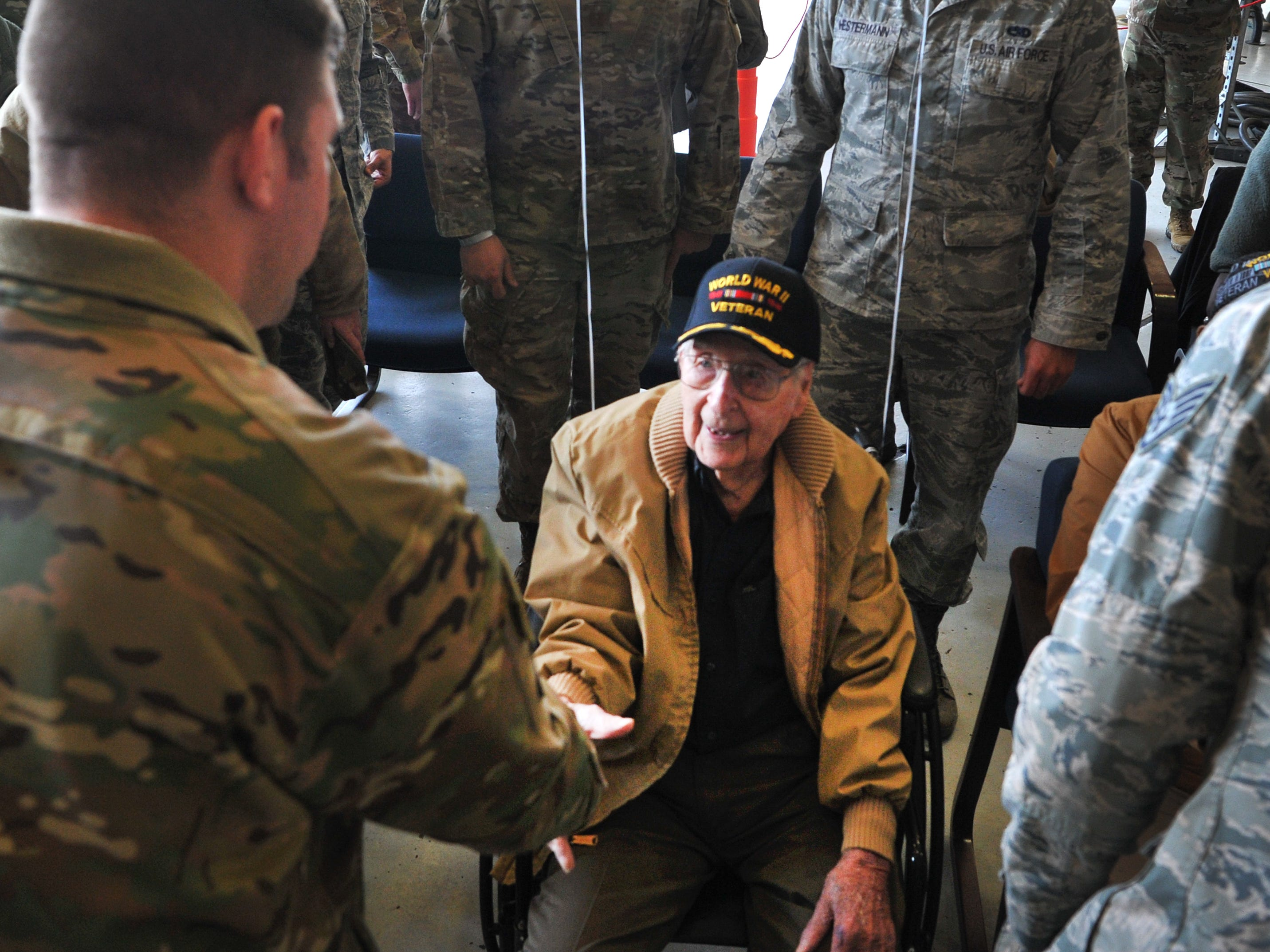 Sheppard Air Force Base airmen took the opportunity to meet Army Air Corps Staff Sgt. Joe Cuba, a man that became a social media phenomenon after he posted a request for 100 birthday cards for his 100th birthday.