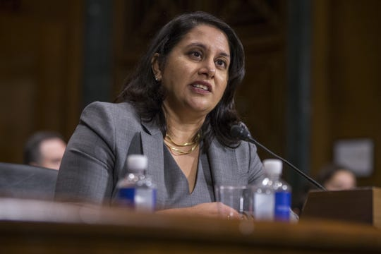 Neomi Rao, President Donald Trump's nominee to be U.S. circuit judge for the District of Columbia Circuit, testifies during a Senate Judiciary confirmation hearing on Capitol Hill on Feb. 5, 2019 in Washington.