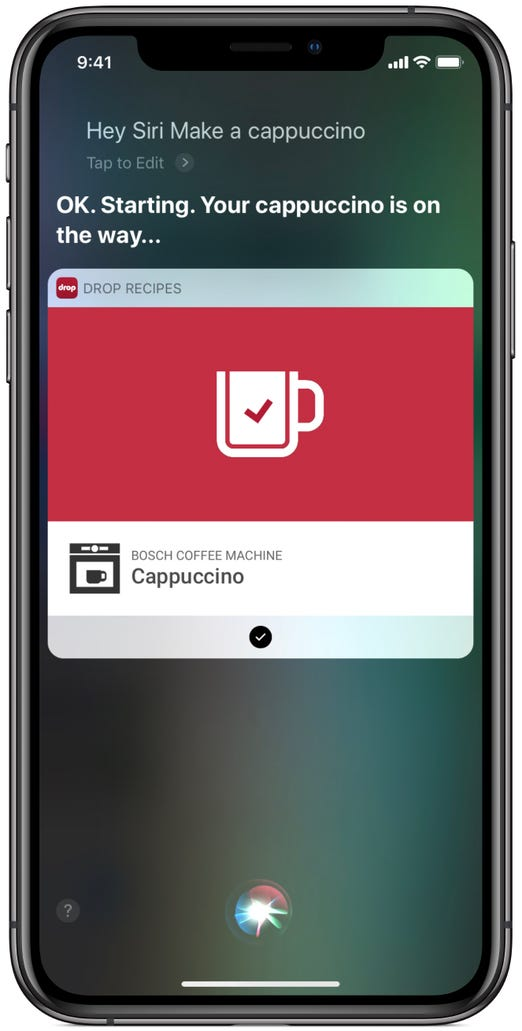 Make a cappuccino by voice through the Drop app Shortcut and a Bosch coffee machine.