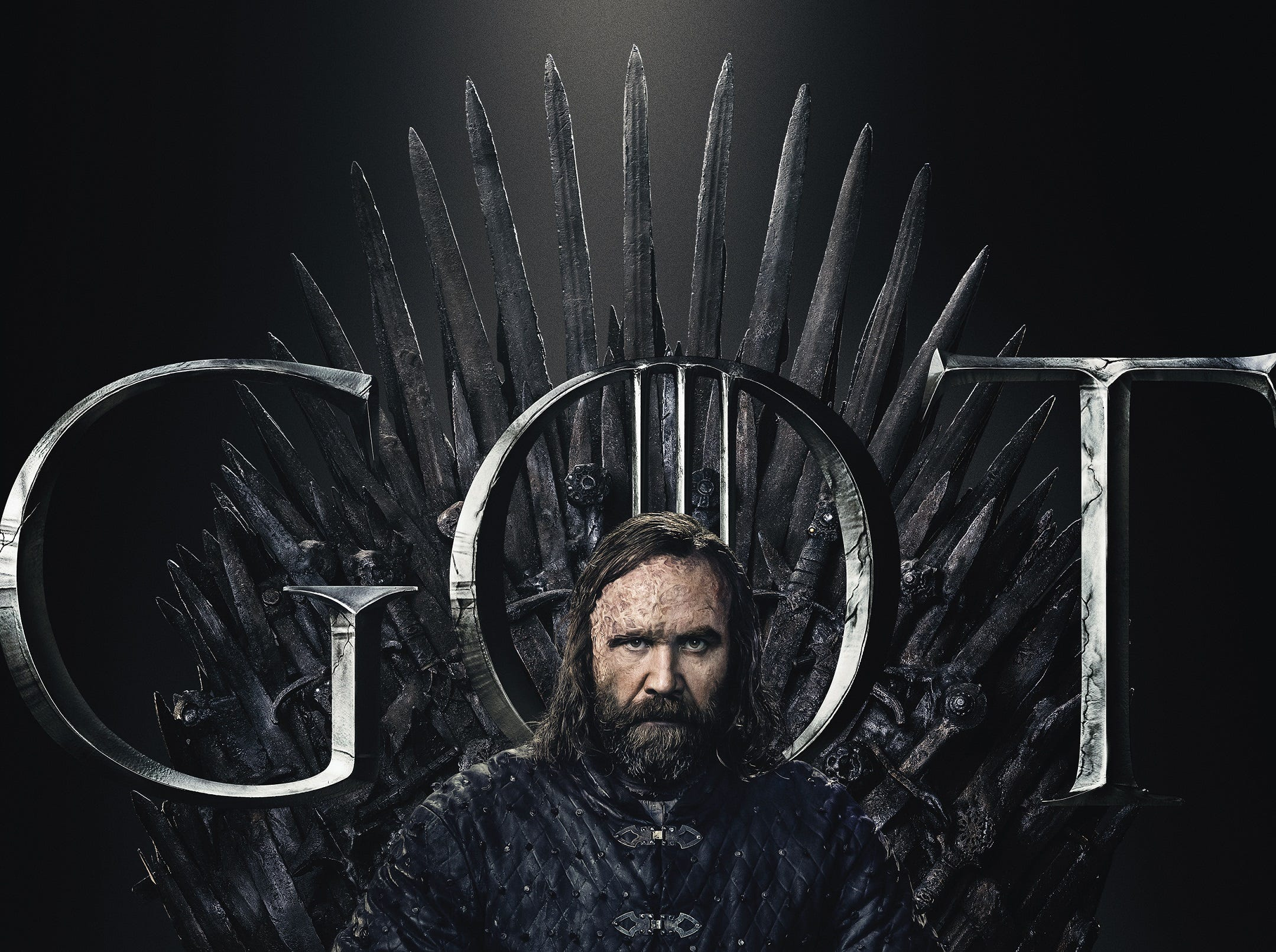 The Hound (Rory McCann) is still scarred and still sullen. Hard to believe he's changed so much since Season 1.