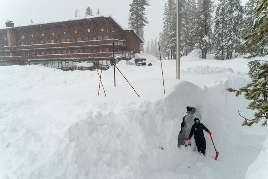 The Sugar Bowl Ski Resort near the Donner Summit in California picked up a record 22 feet of snow in February.