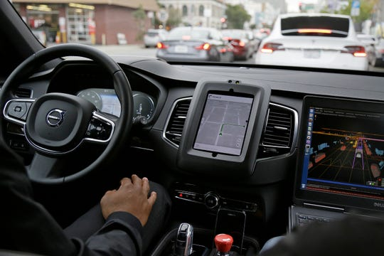 An Uber driverless car