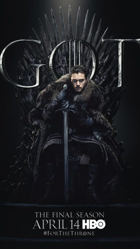 """Season 8 of """"Game of Thrones"""" arrives April 14 (9 EST / PST), and it certainly looks a lot like Season 1. HBO has posted posters for the remaining players in the epic and fantasy series, showing them all sitting on the iron throne of Westeros. . Jon Snow's (Harington Kit) strongly mimics a Season 1 poster, where Ned Stark (Sean Bean) sat on the throne leaning on a sword. Jon, on the other hand, looks much more determined than his father - or rather his uncle -. Scroll to see all the posters."""
