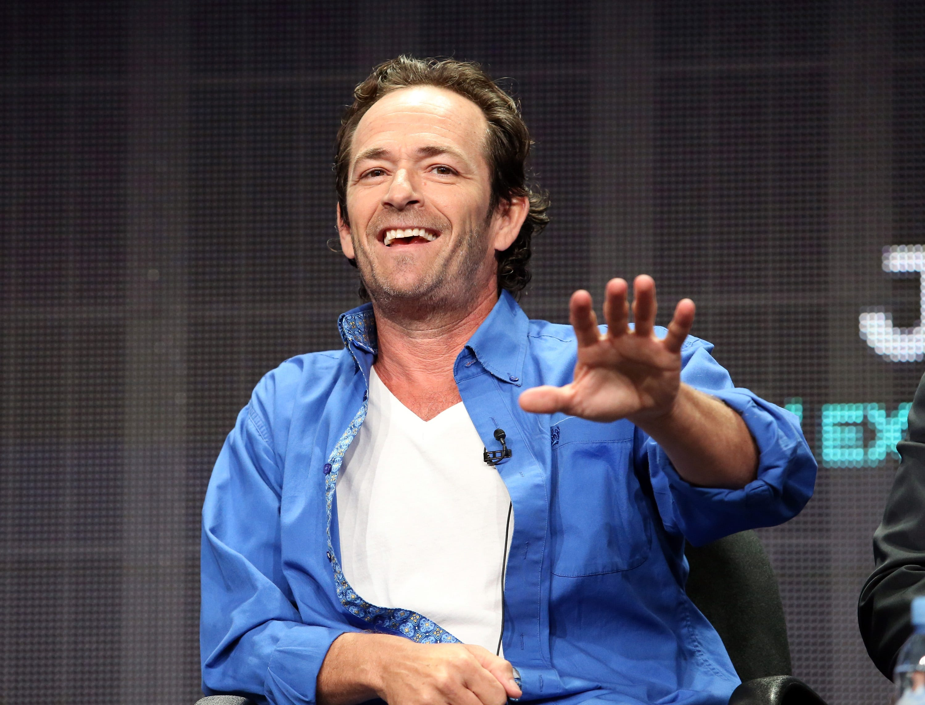 Executive producer/actor Luke Perry speaks onstage during the 'Welcome Home' panel discussion at the UP Entertainment portion of the 2015 Summer TCA Tour at The Beverly Hilton Hotel on July 30, 2015 in Beverly Hills, Calif.