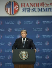 President Donald Trump speaks at a news conference in Hanoi, Vietnam, on  on Feb. 28, 2019.