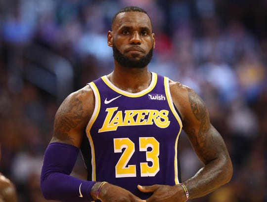 22f3f7748e3a Los Angeles Lakers forward Lebron James against the Phoenix Suns at Talking  Stick Resort Arena.